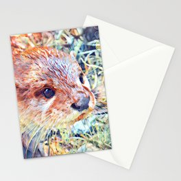 Aquarell Otter Stationery Cards