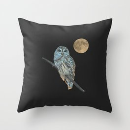 Owl, See the Moon (sq Barred Owl) Throw Pillow