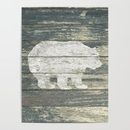 Rustic White Bear on Teal Wood Lodge Art A231c Poster
