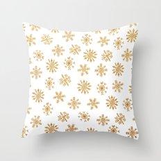 Golden Snowflakes Throw Pillow
