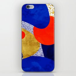 Terrazzo galaxy blue night yellow gold orange iPhone Skin