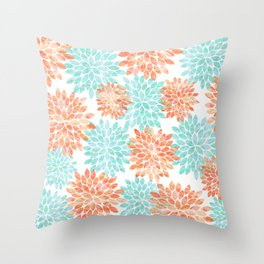 aqua and coral flowers Throw Pillow