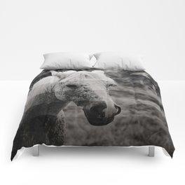 GreyScale Horse Comforters