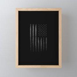 Grey American flag Framed Mini Art Print