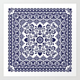 Oriental Damask blue on white Art Print
