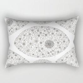 Black & White Floral Rectangular Pillow