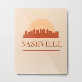 NASHVILLE TENNESSEE CITY SKYLINE EARTH TONES Metal Print