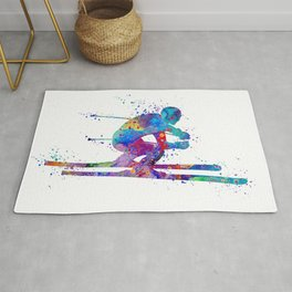 Boy Skiing Winter Sports Colorful Watercolor Art Gift Rug