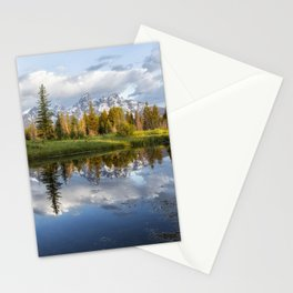 Grand Tetons and Trees Reflected in Snake River at Schwabacher's Landing Stationery Cards
