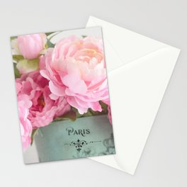 Paris Pink Peonies Bouquet Stationery Cards