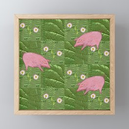 Three little pigs looking for daisies Framed Mini Art Print