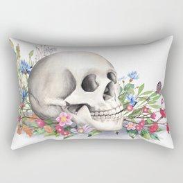 Skull Still Life With Wild Flowers Rectangular Pillow