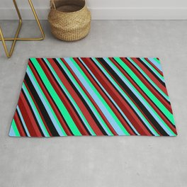 Vibrant Red, Maroon, Green, Light Sky Blue, and Black Colored Striped Pattern Rug