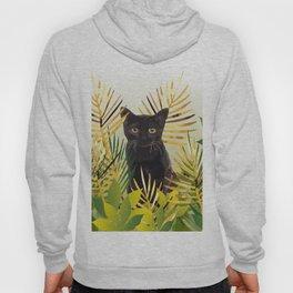 Black Cat Palm leaf Hoody