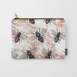 Bees on rose gold marble Carry-All Pouch