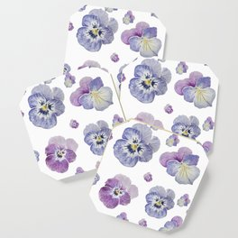 Watercolor Pansy Pattern Coaster