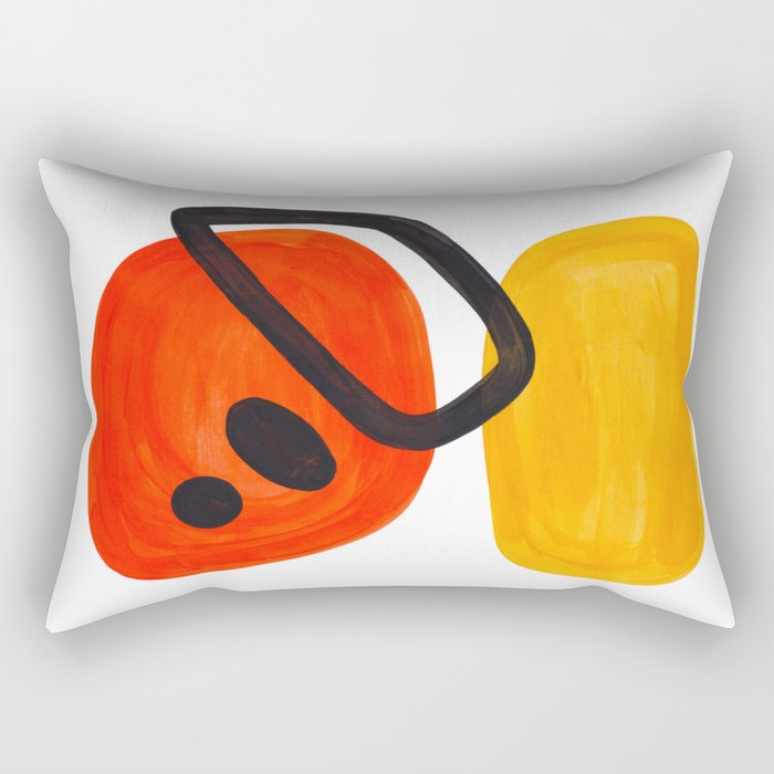 Midcentury Modern Colorful Abstract Pop Art Space Age Fun Bright Orange Yellow Colors Minimalist Rectangular Pillow