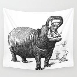 Hippopotamus black and white retro drawing Wall Tapestry
