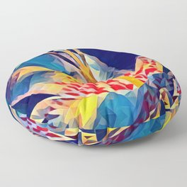 Tiger Flower in Blues Floor Pillow