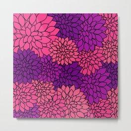 Pink Purple Dahlia Flowers Metal Print