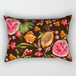 Tropical Fruit Festival in Black   Frutas Tropicales en Negro Rectangular Pillow