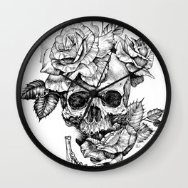 Black and White skull with roses pen drawing Wall Clock