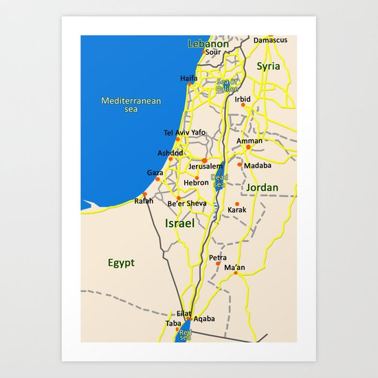 Israel Map design Art Print