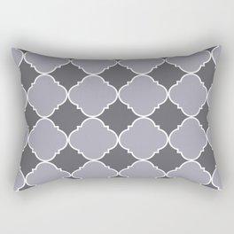 Pantone Lilac Gray Ornamental Moroccan Tile Pattern with White Border Rectangular Pillow