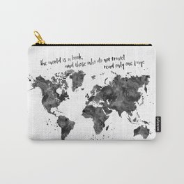 The world is a book, world map in black watercolor Carry-All Pouch