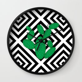 Cactus - Abstract geometric pattern - black and white. Wall Clock