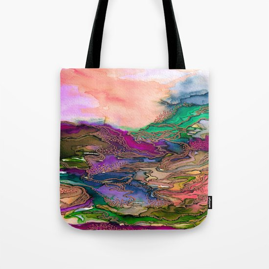 BRING ON BOHEMIA 1 Bold Rainbow Colorful Watercolor Abstract Metallic Accent Summer Peach Pink Green Tote Bag