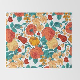Vintage flower garden Throw Blanket