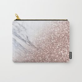 Blush Pink Sparkles on White and Gray Marble V Carry-All Pouch