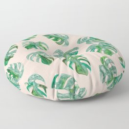 Tropical Monstera Leaf Pattern | Pink Background Floor Pillow
