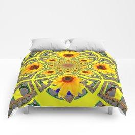 YELLOW SUNFLOWER  ART MODERN ART PATTERN Comforters