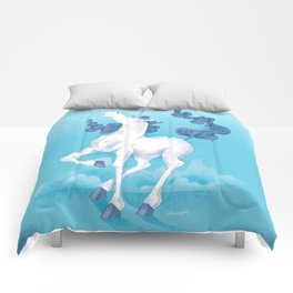 Stencil Unicorn on Teal Sky and Cloud Spray Comforters