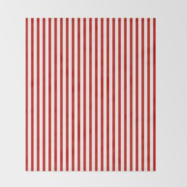 Red & White Maritime Vertical Small Stripes - Mix & Match with Simplicity of Life Throw Blanket