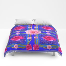 BLUE  GEOMETRIC ART CERISE & PINK FUCHSIA ROSES Comforters