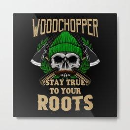 Woodchopper Roots Skull Metal Print