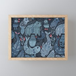 Arctic animals. Polar bear, narwhal, seal, fox, puffin, whale Framed Mini Art Print