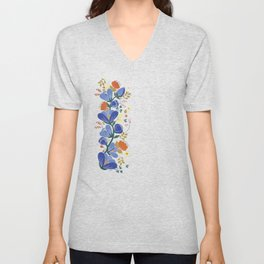 folk spring flowers no2 Unisex V-Neck