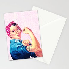 Fight Like A Girl Rosie The Riveter Girly Mod Pink Stationery Cards