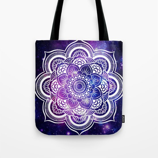 Mandala purple blue galaxy space Tote Bag