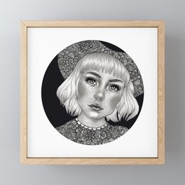 Girl with hat Framed Mini Art Print