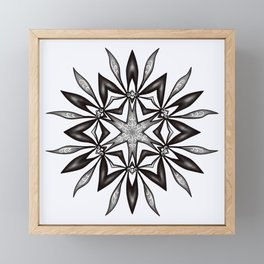 Kaleidoscopic Flower Art In Black And White Framed Mini Art Print