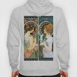 "Alphonse Mucha ""Primrose and Feather"" Hoody"