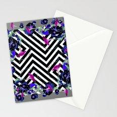Geometric  black-White Morning Glories Grey Pattern Garden  Art Stationery Cards