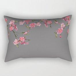 Cherry Flowers grey background Rectangular Pillow