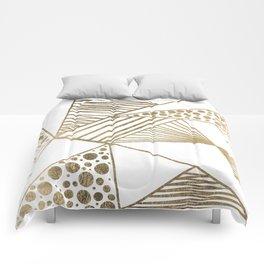 Elegant faux gold geometric stripes polka dots pattern Comforters