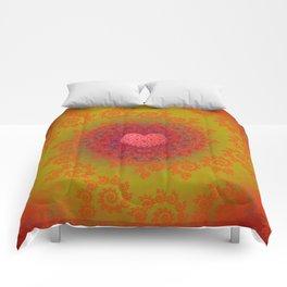 Red Yellow & Orange Heart Fractal Comforters